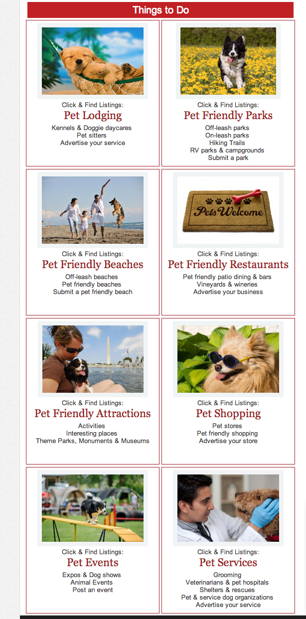 This shows the page that has everything there is to do in Orlando that is pet friendly
