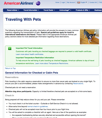 traveling tips for pet policy