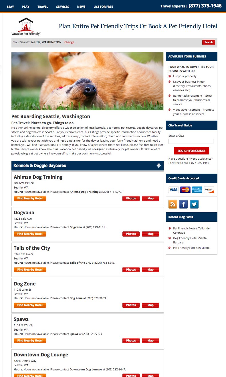 Kennels listing page on Vacation Pet Friendly